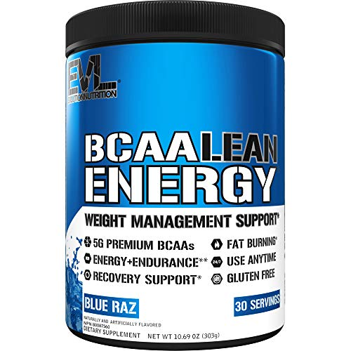 Evlution Nutrition BCAA Lean Energy - Energizing Amino Acid for Muscle Building Recovery and Endurance, with a Fat Burning Formula, 30 Servings (Blue Raz)