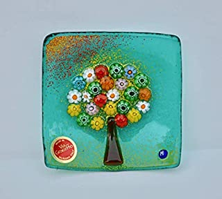 Murano Glass Tree of Life Plate, Small, Teal