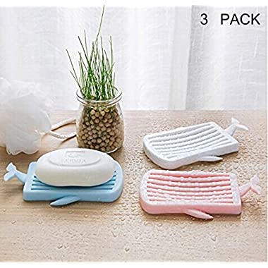 Any Beauty 3-Pack, Whale Soap Dish, Cute Soap Dish Shower Waterfall Soap Tray Soap Saver Soap Holder Drainer for Shower/Bathroom/Kitchen/Counter Top, Keep Soap Bars Dry Clean