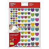APLI Kids 18767 - Bolsa de 624 gomets corazones en tamaños surtidos, removibles, multicolor, 6 hojas
