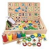 BBLIKE Juguetes de Madera Niños, Tablero Montessori Reloj Pintura Números Apilamiento Clasificación Matemática Aprendizaje de Juegos, Juguetes Educativos 3 4 5 años Niños (B)