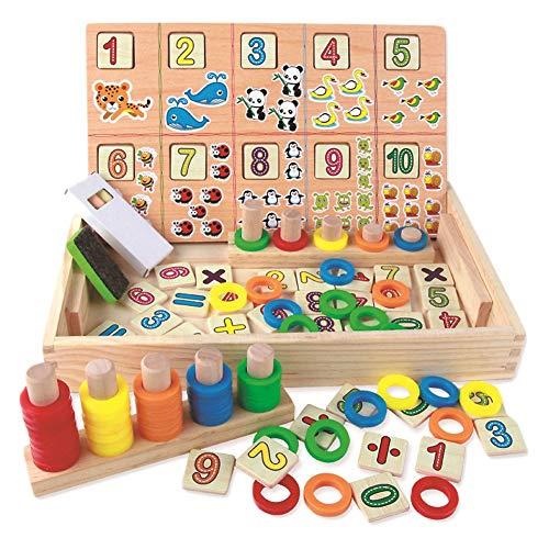 BBLIKE Montessori Mathe Spielzeug. Kinder Lernuhr Holz Lehrmittel, Spielzeug Doodle aus Holz Zeichnung, Lernspielzeug für Kinder 3 4 5 Jahre Alt (E)