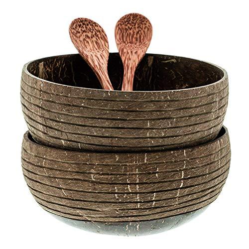 onvacay Coconut Bowl Kokosnussschale Set 100% Vegan Upcycling Natur Recycling Kokosnuss Schale - Smoothie, Buddha ACAI, Porridge, Salad Bowl Frühstück Dekoration
