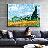 Pintura Réplica en la pared Impresionista Paisaje Arte de la pared Lienzo Imagen Decoración A 60x80cm