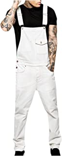 Mens Dungarees Denim Trousers Overalls Jeans Jumpsuits Streetwear Pocket Suspender Pants Casual Multi-Pocket Trousers with...
