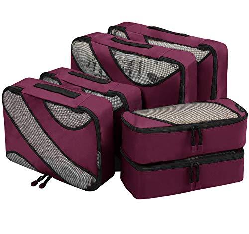 Amazon Brand - Eono 6 Teilige Kleidertaschen, Packing Cubes, Verpackungswürfel, Packtaschen Set für Urlaub und Reisen, Kofferorganizer Reise Würfel, Ordnungssystem für Koffer, Packwürfel - Weinrot