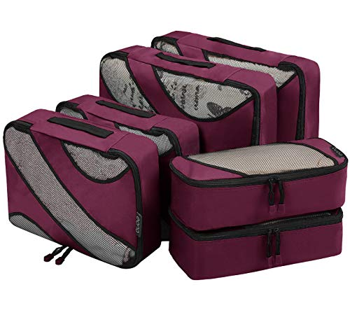 Eono by Amazon - Packing Cubes Travel Luggage Organizers Suitcase Organizer Packing Organizers, 6 Set (2L+2M+2Slim), Burgundy