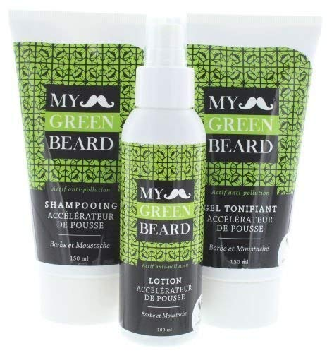 Bart Wachstumsbeschleuniger Lotion + Shampoo + Gel - My Green Beard für schnelleres Bartwachstum, Bartpflege und Förderung des Bartwuchses, Bartwuchsmittel für einen kräftigen und vollen Bart