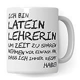 Pagma Druck Latein Lehrerin Tasse, Geschenk für Lateinlehrerin, Kaffeetasse Geschenkidee Lehrer Tasse Latein lustig, Kaffeebecher lateinisch Lehramt Schule Abschied Abschluss Witz