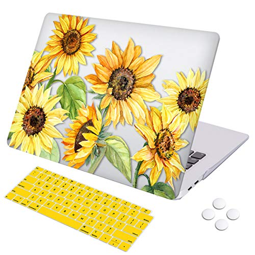 MacBook Air 13 inch case 2018 2019 Release Retina Display Touch ID, DQQH Hard case & Keyboard Cover,Only Compatible MacBook Air 13 inch 2018 2019 Model A1932-Sunflower