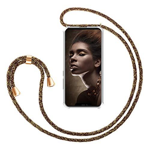 ZhinkArts - Cadena para teléfono móvil Compatible con Huawei Mate 20 Pro – Funda para Smartphone con Cinta – Cordón con Funda para Colgar en el Cuello en Dorado – marrón