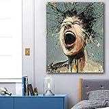 oioiu Arte Callejero Creativo Lienzo Pintura en Aerosol Pared Personaje Abstracto Arte Cartel Pintor Pintura emocin imgenes en el Dormitorio Pasillo Sala de Estar Mural sin Marco