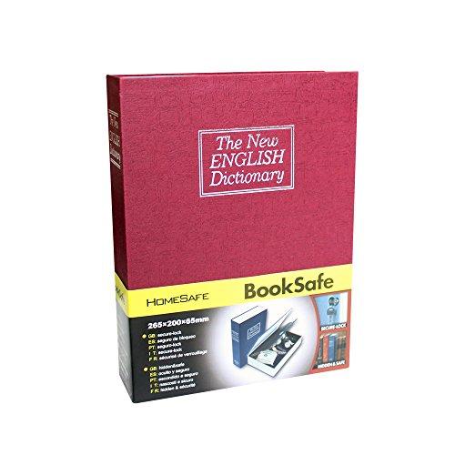 vicdream diccionario desviación libro seguro dinero caja de seguridad con cerradura con llave–tamaño Extra grande, rosso