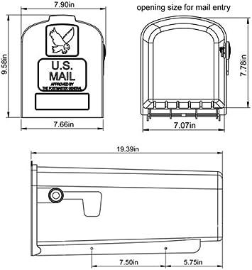 Gibraltar Mailboxes Parsons Medium Capacity Rust-Proof Plastic White, Post-Mount Mailbox, PL10W0201