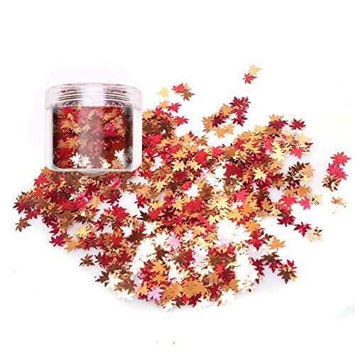 Laza Chunky Glitter Autumn Leaves Nail Art Sequin Flake Leaf Shaped Red Orange Mixed DIY Design Confetti for Decoration Festival - Maple