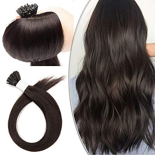 Extension Cheveux a Froid - Rajout Cheveux Naturel Cheveux Humain I Tip Micro Ring Extensions - 100 Mèches/50g (#1B NOIR NATUREL, 40CM)