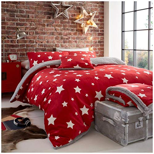 Gaveno Cavailia Premium Quality Soft & Cosy Teddy Star Quilt Cover and Matching Pillow Cases, Easy Care Fluffy Bed Linen, Fleece Duvet Set, Red, Double Size Bedding