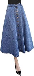MU2M Women Single A-Line Summer Breasted High Rise Slim Fit Denim Midi Skirts