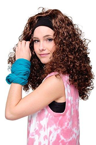 WIG ME UP VK Event Fashion - Perruque Somptueusement Bouclé avec Bandeau Frontal, De Couleur Châtain, Idéal pour Carneval