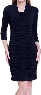Elliscold Women's Cold Shoulder Dress Silky Casual Midi Dress Loose Swing Floral Shift Dress