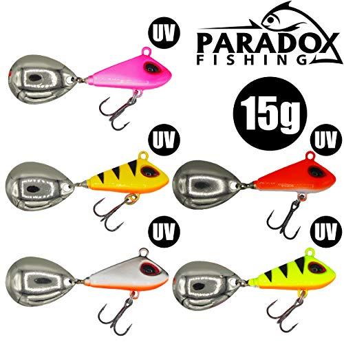 Paradox Fishing Jig Spinner 5er Set 15g Spin Jig zum Barsch Angeln Barsch Köder Hecht Köder Bleikopfspinner Spinnerbait Spinnköder Tailspinner – optimaler Barschköder (15g)