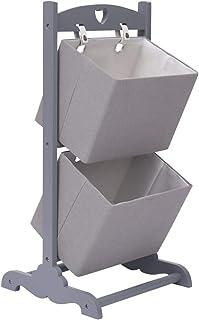 Festnight Cesta de Almacenaje de 2 Piezas Madera Cajas de Almacenaje Cubos de Tela Cajas Organizadoras Cajas Carton Decorativas Gris Oscuro 35x35x72 cm