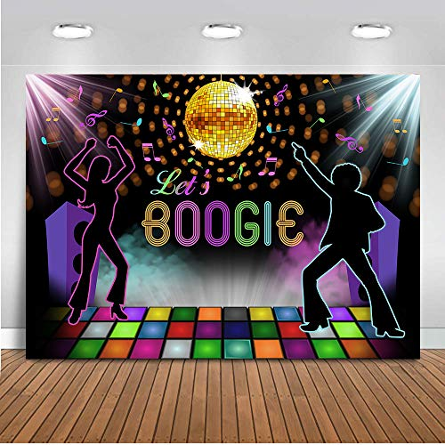 COMOPHOTO Let's Boogie Party Decoration Backdrop Seventies Rainbow Disco Ball Boogie Fever Large Backdrop Scene Setter Birthday Celebration Party Photo Booth