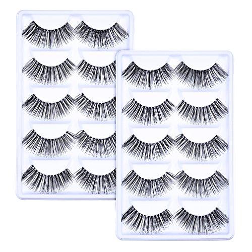 10 Paare Handgefertigte 3D Falsche Wimpern Natürliches Aussehen Wimpern Erweiterung Makeup (0,8 Zoll)