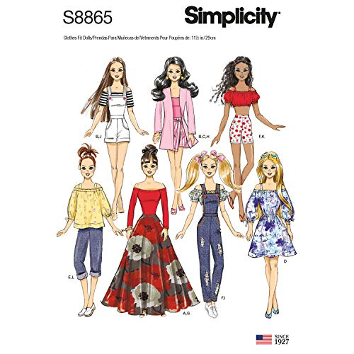 """Simplicity Sporty 11.5"""" Doll Clothes Sewing Patterns"""