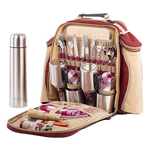 Greenfield Collection 4 Person Super Deluxe Mulberry Red Picnic Backpack...