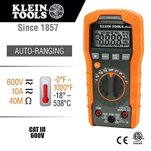Klein Tools Digital Multimeter, Auto-Ranging, 600V MM400 , Orange , Auto Ranging/Temperature, Capacitance, frequency