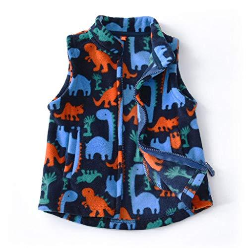 JiAmy Jungen Kinder Weste Fleece-Weste Winterjacke Ärmellos Reißverschluss Outfits (Dinosaurier, 18-24 Monate)