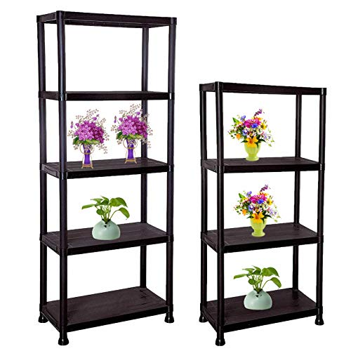 Aufather 4 or 5 Tier Black Plastic Shelving Unit Storage Organised for Garage/Home/Pantry/Shed, Weatherproof Shed Storage Racking Shelf Shelves (5 Tier)