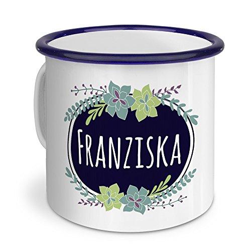 printplanet Emaille-Tasse mit Namen Franziska - Metallbecher mit Design Flowers - Nostalgie-Becher, Camping-Tasse, Blechtasse, Blau