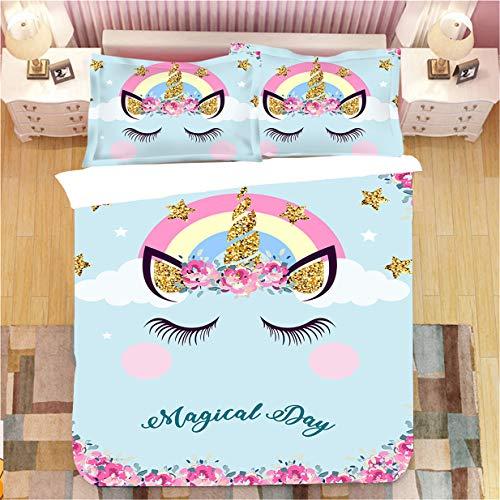 KOOYR - Funda de edredón, diseño de unicornio 3D, ropa de cama supersuave y cómoda, 2/3 piezas, funda de edredón para niños y adolescentes (02,135 x 200 cm)