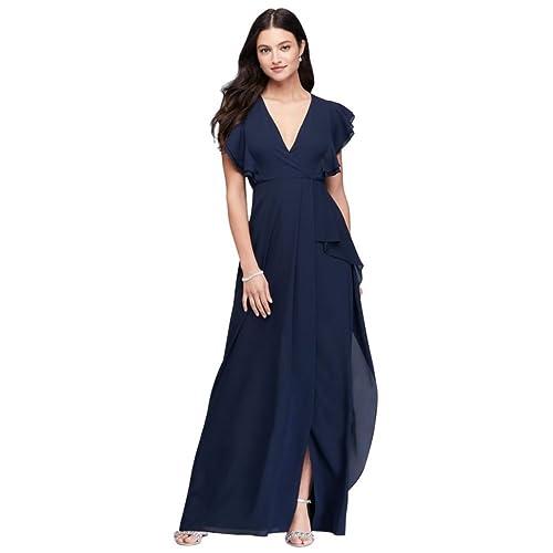 02ac6962c4d David s Bridal Flutter Sleeve Chiffon Bridesmaid Dress Style 264210