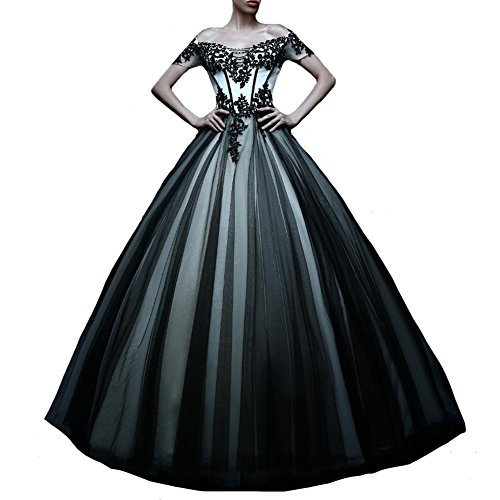 Kivary Off Shoulder White and Black Tulle Gothic Lace Vintage Prom Dresses Wedding Gowns US 4