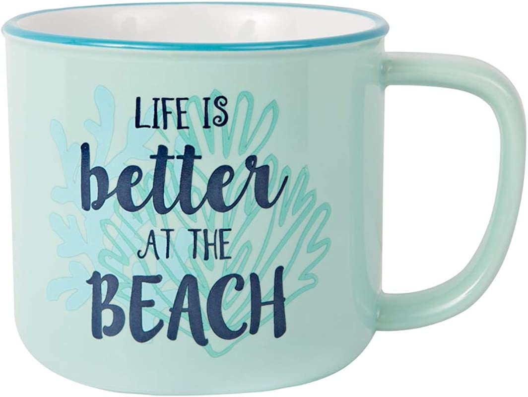 Pavilion Gift Company 67519 Large 17 Oz Stoneware Coffee Cup Mug Life Is Better At The Beach Blue