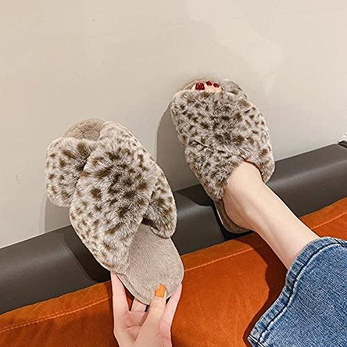 Kirin-1 Zapatillas de casa para Mujer,Zapatillas de Piel de Gran tamaño Inicio Comfort Zapatillas de algodón Algodón-Caqui_39