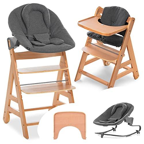 Hauck Alpha Move Set Premium - Seggiolone Pappa in Legno dalla nascita regolabile incl. sdraietta Premium, cuscino di seduta, vassoio - Carbone Legno