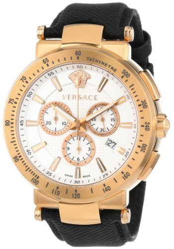Versace Men's VFG070013 'Mystique' Rose Gold Ion-Plated Watch with Leather Band