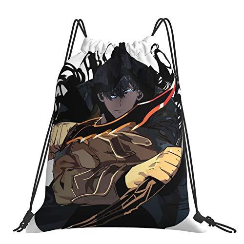 dgdgd Anime Solo - Mochila con cordón de nivelación para deportes, viajes, gimnasio, compras, playa, bolsa ligera y de gran capacidad