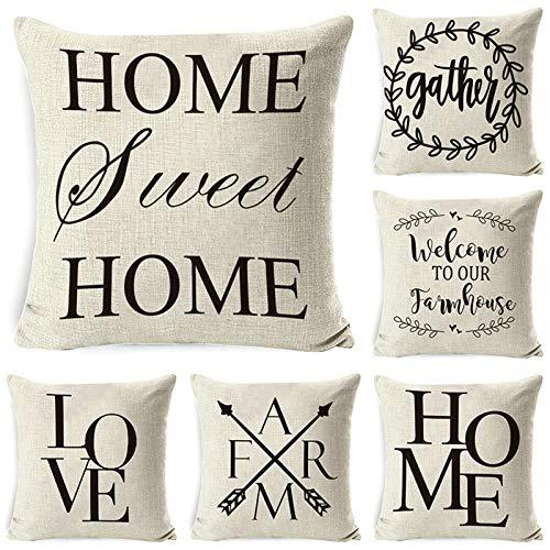 Aeici Set 6 Federe Copricuscino Divano, Federa Cuscino 50x50cm Federe per Cuscini Divano Home Sweet Home Love Set 1