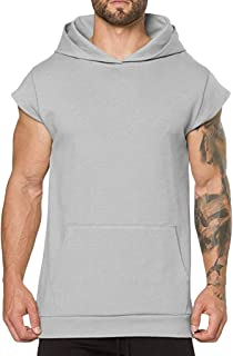 WUAI Mens Workout Hoodies Bodybuilding Muscle Cut Off T Shirt Short Sleeve Gym Fitness Hooded Shirts Tops