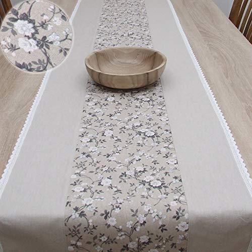 Wunderbare Tischläufer, das Beste Geschenk für die schönste Küche von HomeAtelier, Vintage Rosen, Grau - Beige, 100x40cm,130x40cm, 150x40cm, 170x40cm