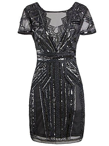 Vijiv 1920 vestidos cortos de baile de fin de curso inspirados en V cuello de lentejuelas vestido de cóctel