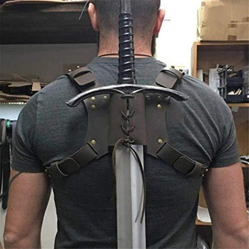 Sartel De Espada De Cuero Medieval, Correa De Hombro Ajustable Soporte De Espada De La Funda Scabbard Sword Frog Cinturón Larp Knight Arma Traje Rapier Anillo Funda para Adultos Cosplay,Negro