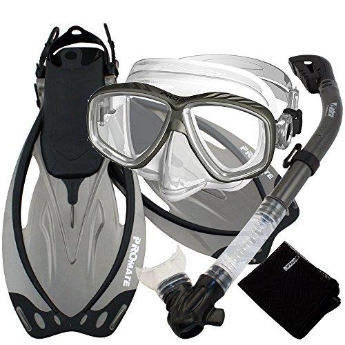 Promate–Snorkel Buceo Aletas de Buceo Snorkel máscara de Purga Gear Set - SCS0011-Ti-MLXL, Titanio