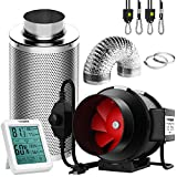 VIVOSUN 6 Inch 390 CFM Inline Fan with Speed Controller, 6 Inch Carbon Filter and 8 Feet of Ducting, Temperature Humidity Monitor for Grow Tent Ventilation