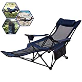 A AIKOOL Camping Recliner Camping Lounge Chair, Backpacking Folding Chair with Headrest, Footrest and Storage Bag for Outdoor Camping, BBQ, 300lbs Weight Capacity